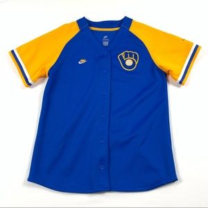 Nike Milwaukee Brewers Baseball Jersey Womens Med